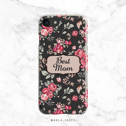 Best Mom Floral Clear iPhone and Galaxy Case