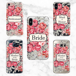 Wedding Party Set of 5 Vintage Floral Cases - Clear Printed TPU