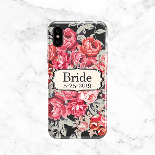 Custom Pink Floral Bride Wedding Phone Case - Clear Printed TPU