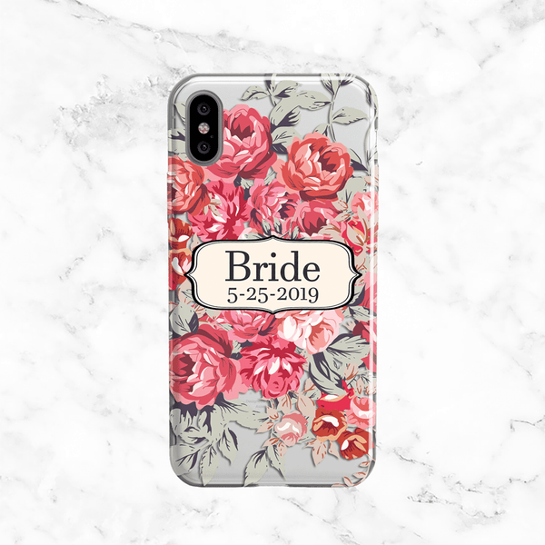 Shabby Chic Peony Bride Case with Custom Date