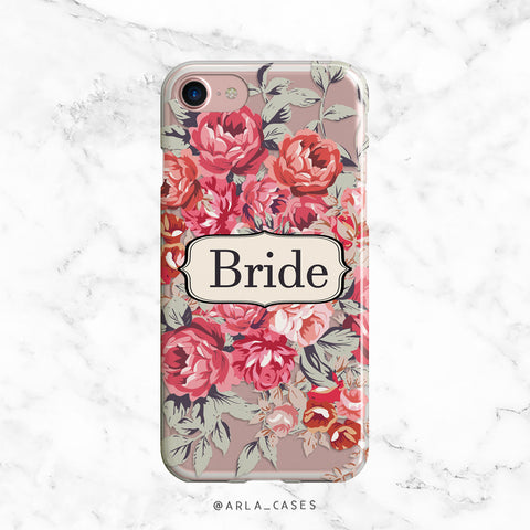 Bridesmaid Peony Wedding Phone Case - Clear Printed TPU