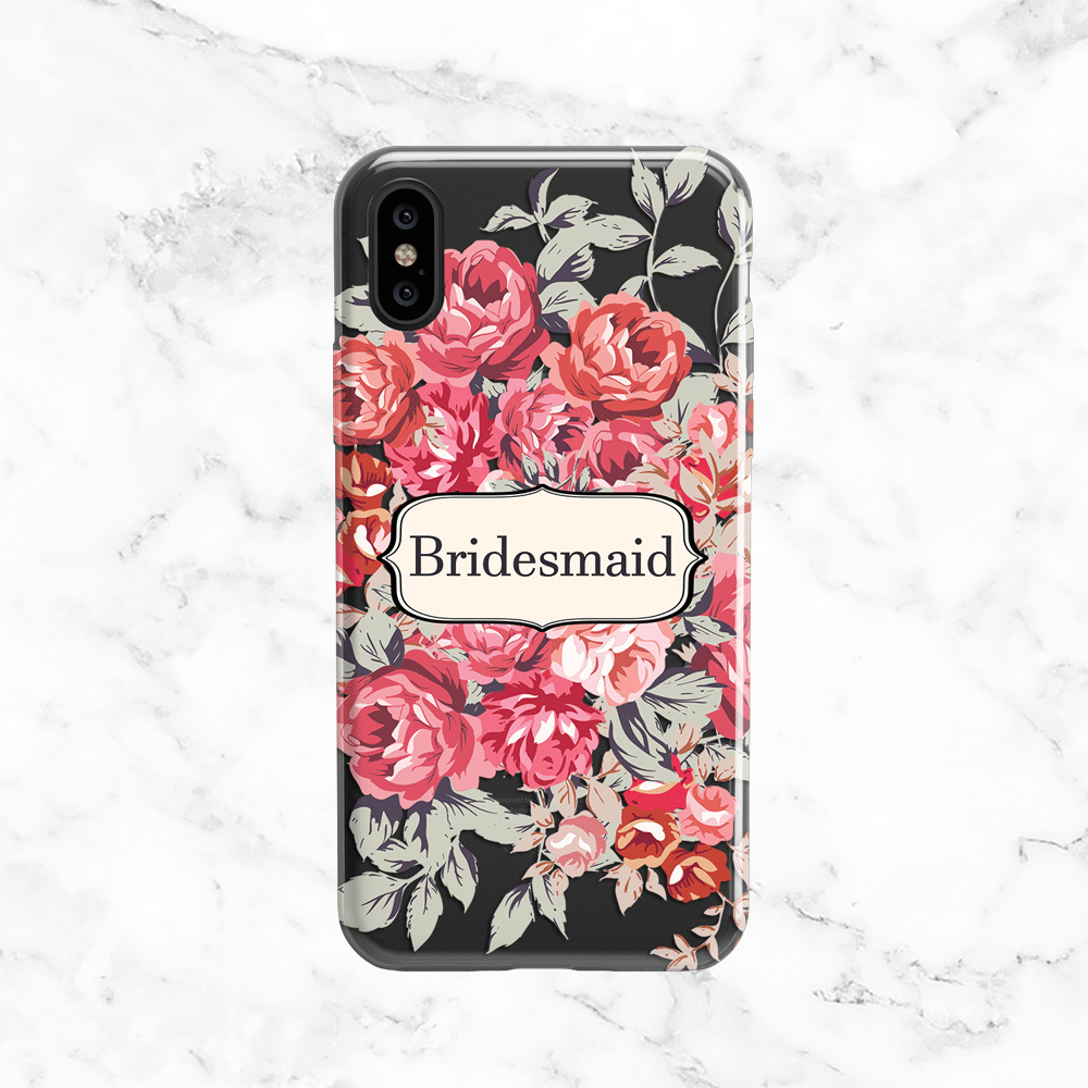 Shabby Chic Bridesmaid Wedding Phone Case - Clear Printed TPU