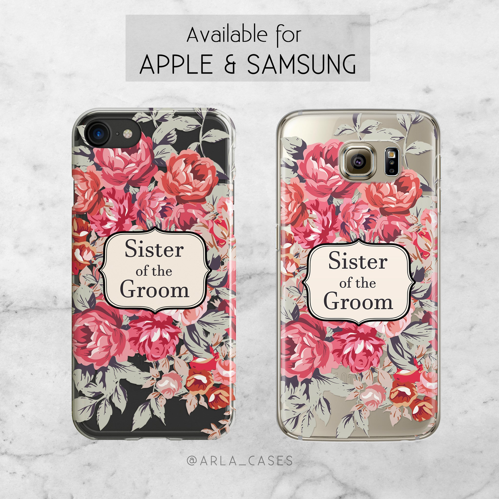 Shabby Chic Sister of the Groom Wedding Phone Case - Clear Printed TPU