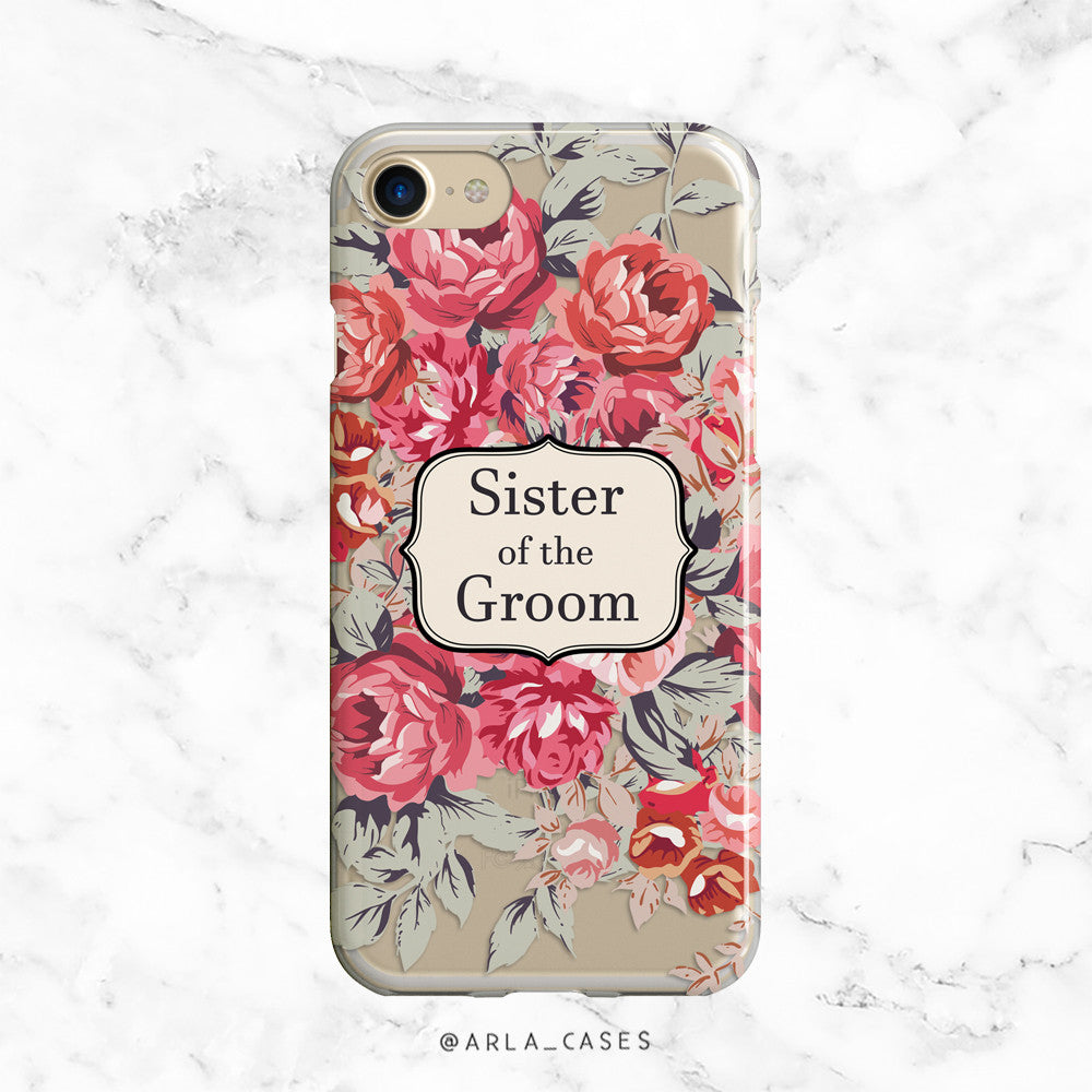 Shabby Chic Sister of the Groom iPhone Case