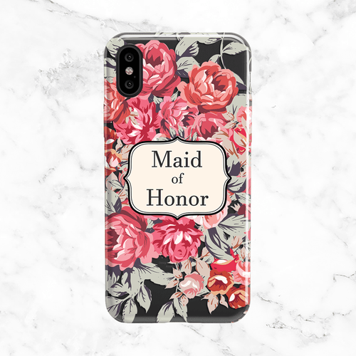 Shabby Chic Maid of Honor Wedding Phone Case - Clear Printed TPU