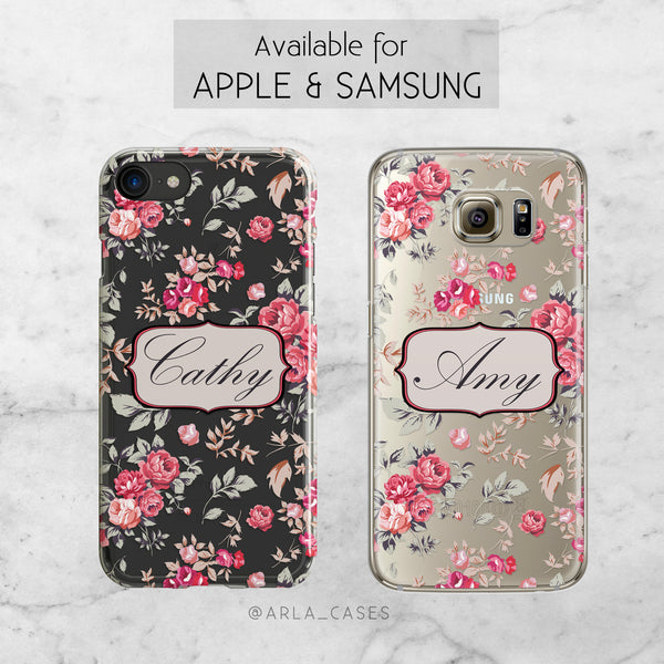 Custom Shabby Chic Floral Name Phone Case - Clear Printed TPU