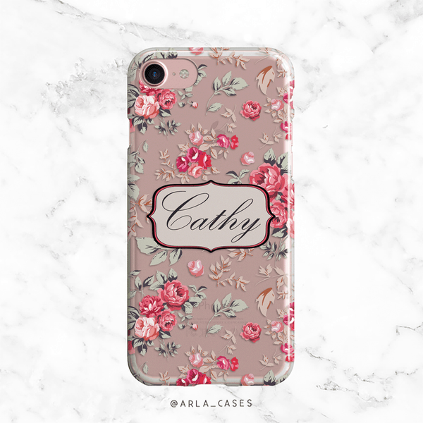 Custom Rose Name Clear iPhone and Galaxy Phone Case