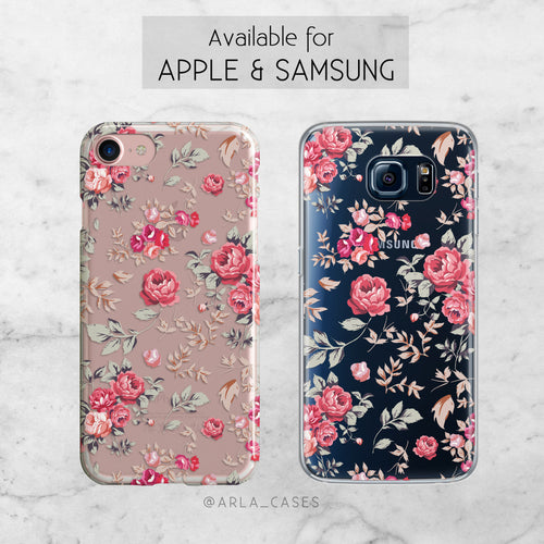Shabby Chic Floral Phone Case - Clear Printed TPU