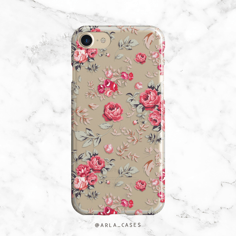 Custom Floral Rose Clear iPhone and Galaxy Phone Case