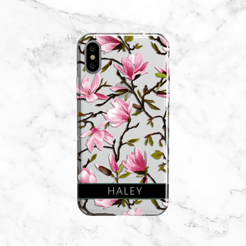 Custom Pink Magnolia Name Phone Case - Clear Printed TPU