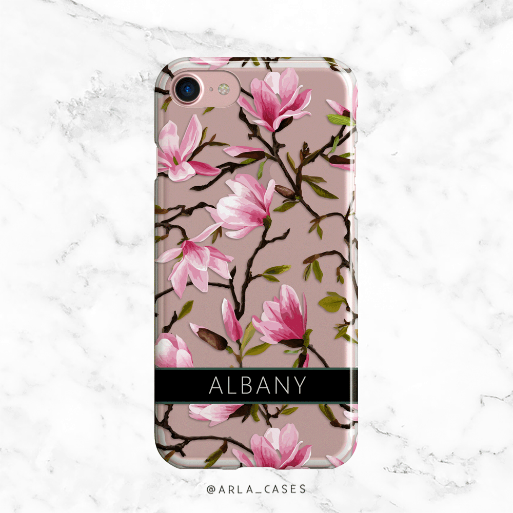 Custom Name Pink Magnolias Clear iPhone and Galaxy Phone Case