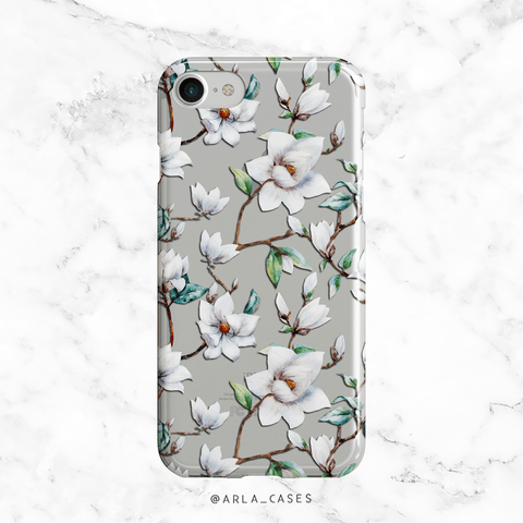 White Magnolias Clear iPhone and Galaxy Phone Case