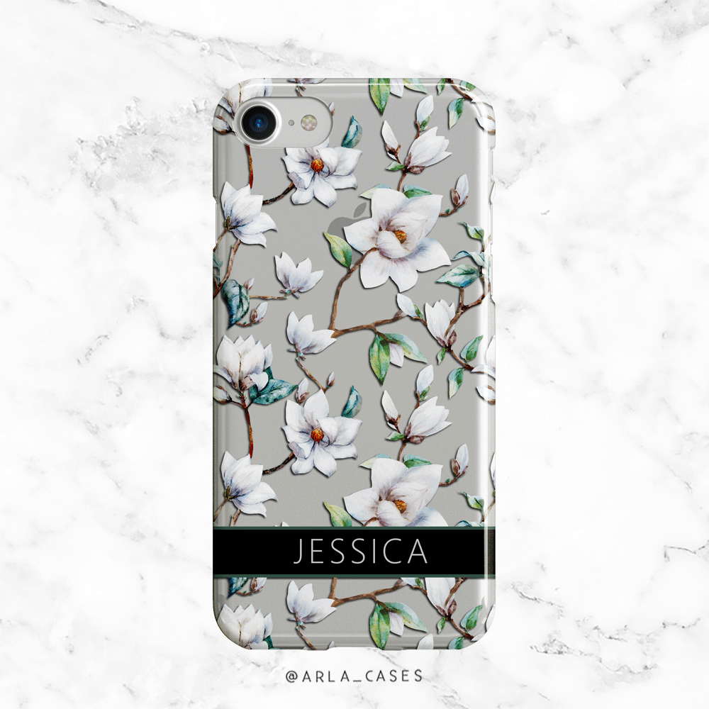 Custom Magnolia Name Clear iPhone and Galaxy Phone Case