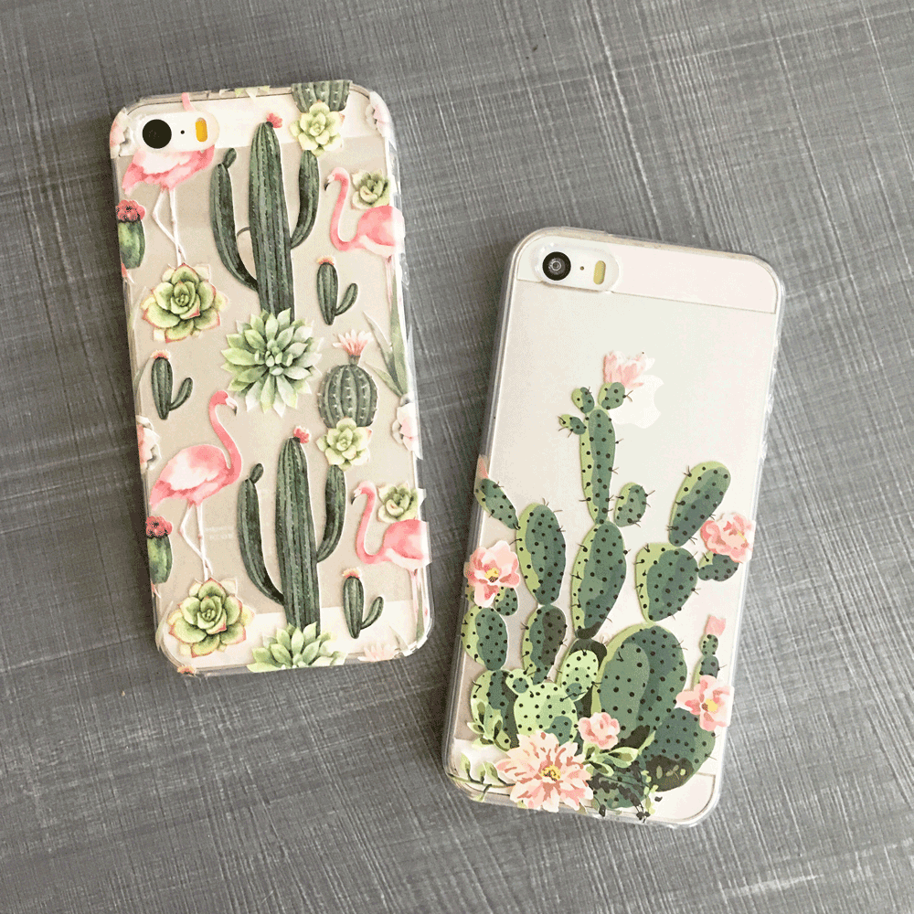 Cactus and Flamingo - Clear TPU Phone Case Cover