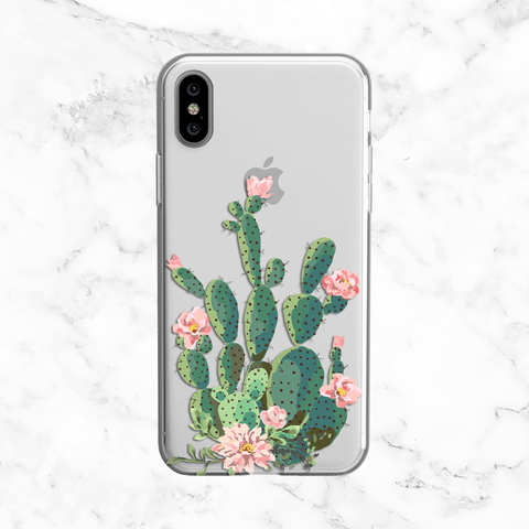 Flowering Cactus Watercolor Design - Clear TPU Phone Case