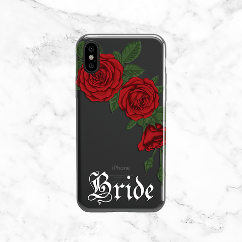 Bride Rose Bouquet Wedding Phone Case - Clear Printed TPU