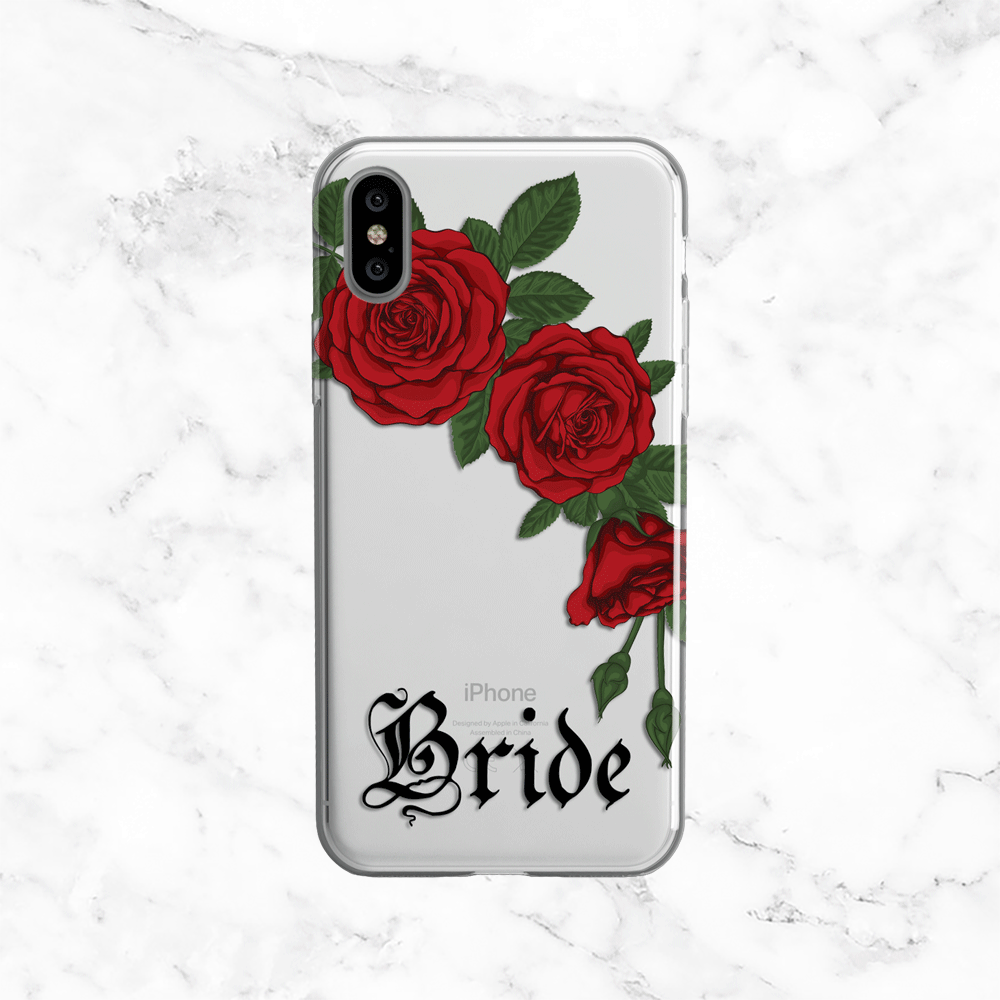 Bride Red Roses Wedding Phone Case - Clear Printed TPU