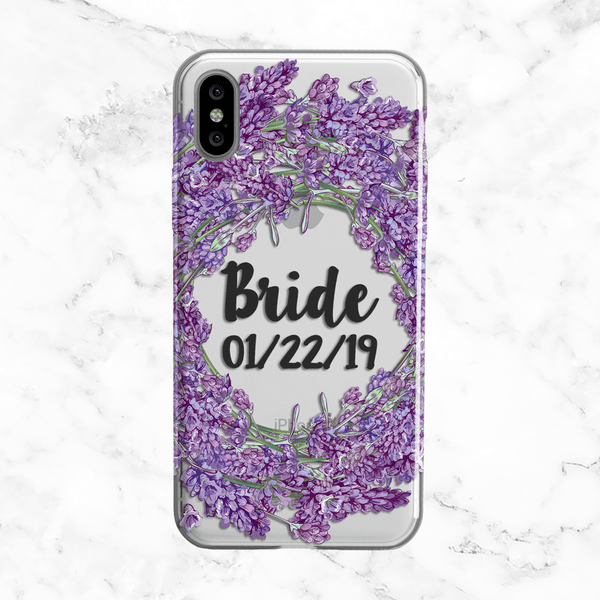 Custom Lavender Bride Wedding Phone Case - Clear Printed TPU