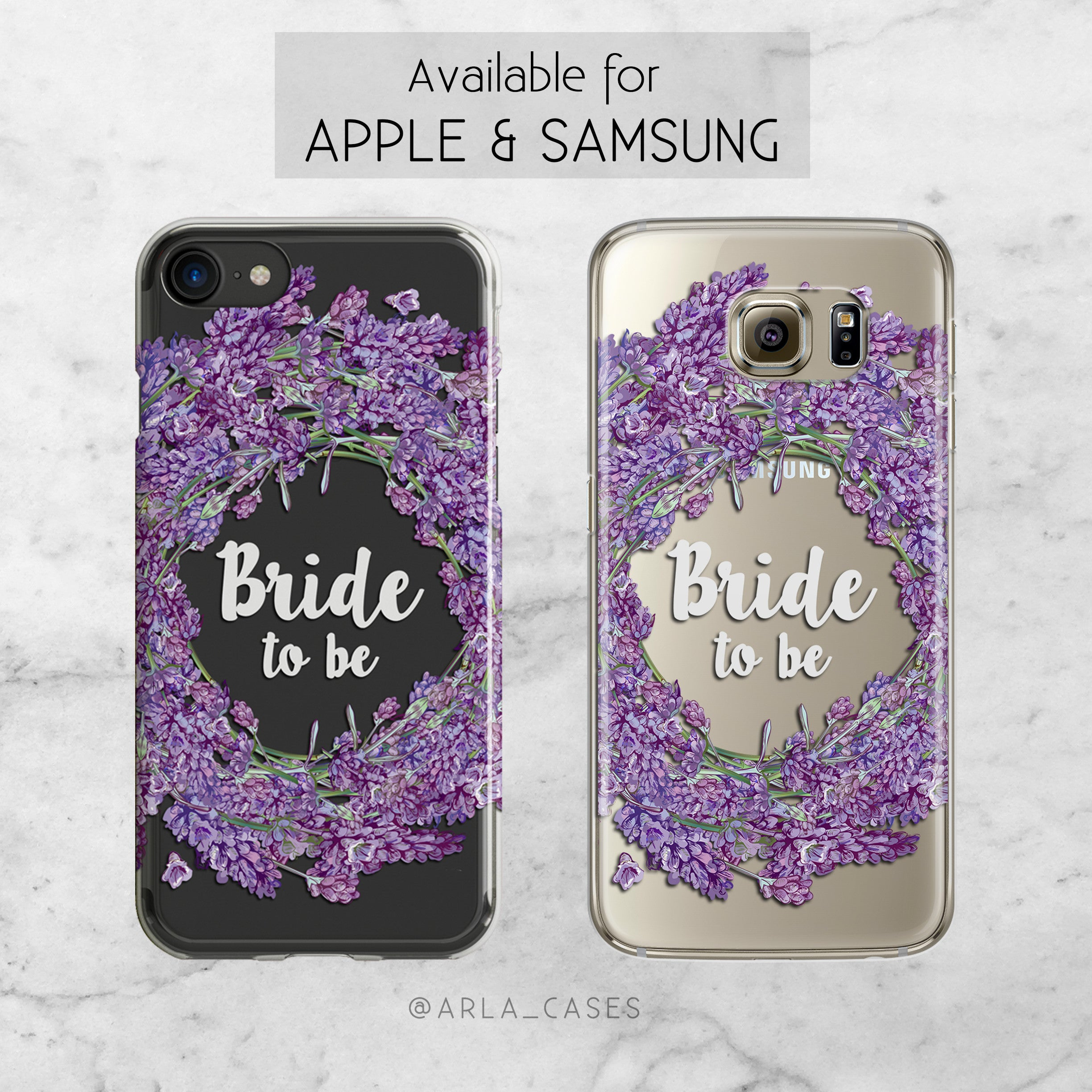 Bride Lavender Wreath Wedding Phone Case - Clear Printed TPU