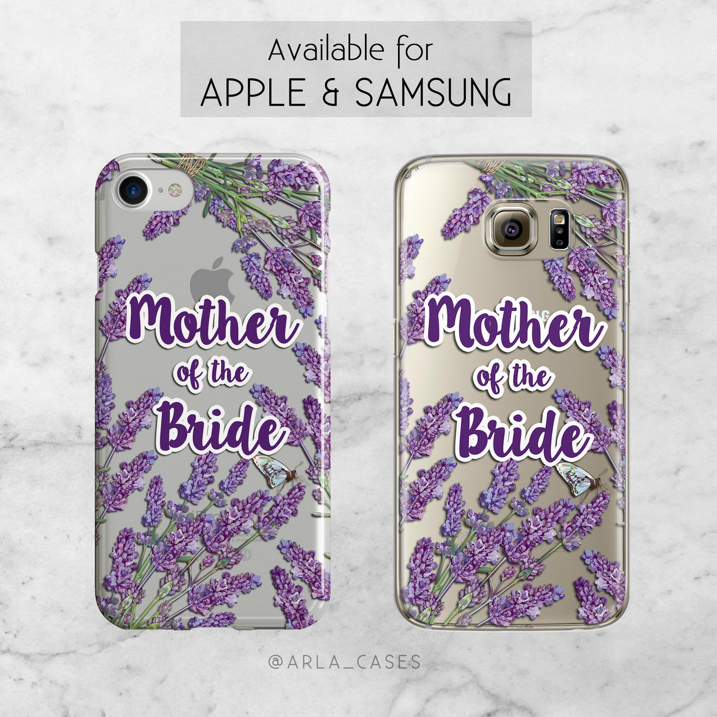 Mother of the Bride Lavender Wedding Phone Case - Clear Printed TPU