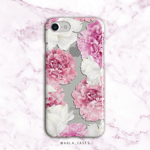 Pink Peonies Clear iPhone and Galaxy Phone Case