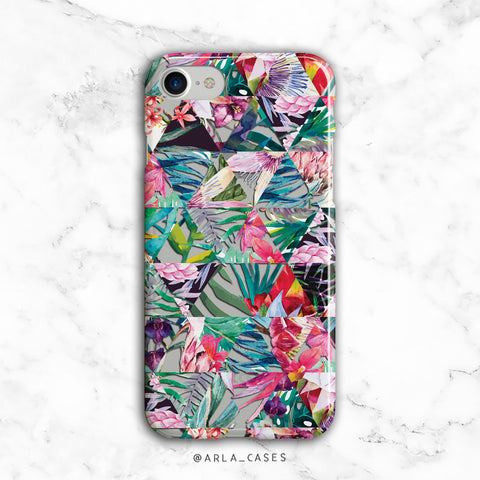Geometric Tropical Flowers iPhone Case