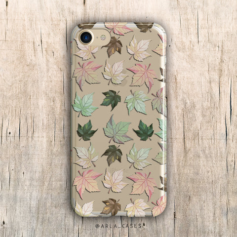 Pastel Autumn Leaves iPhone Case
