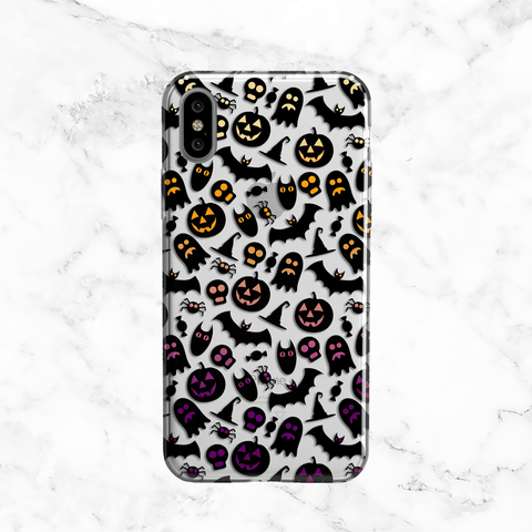 Halloween Ghosts and Pumpkins - Clear TPU Phone Case