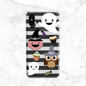 Halloween Cartoons Phone Case Cover - Clear TPU with Print