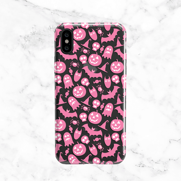 Halloween Pink Ghosts and Pumpkins - Clear TPU Phone Case