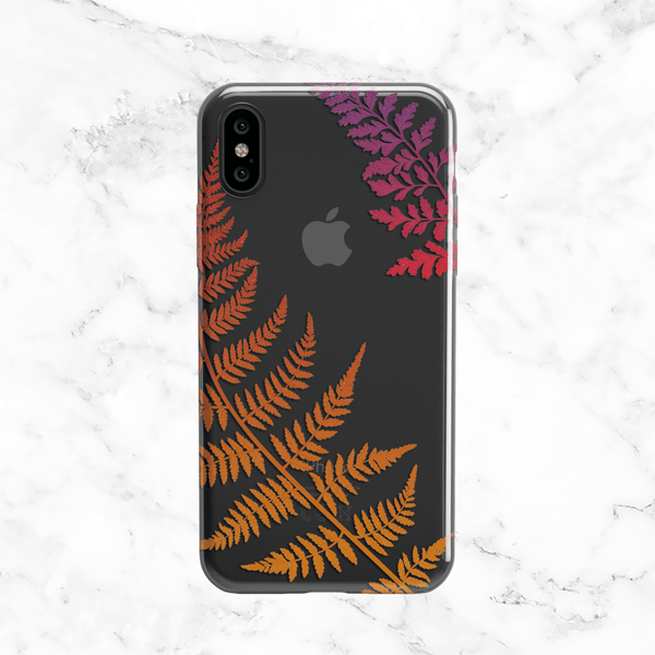 Autumn Fern Leaves Clear Phone Case