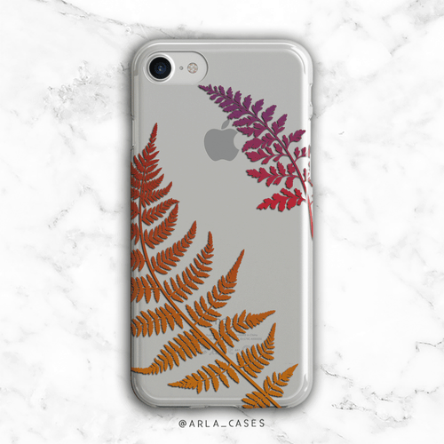 Autumn Fern Leaves Clear iPhone and Galaxy Phone Case