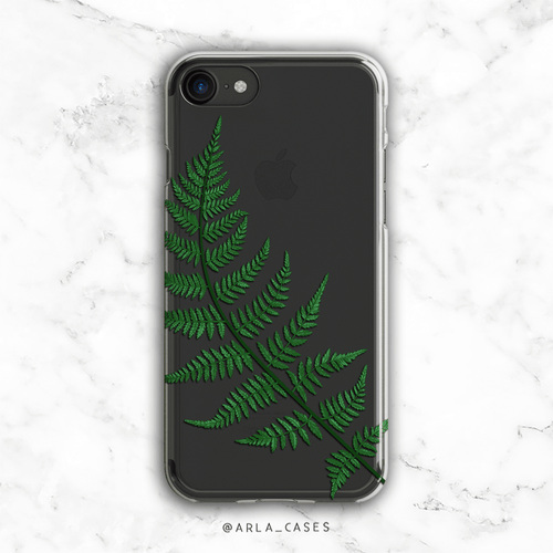 Forest Fern Leaves Clear iPhone and Galaxy Phone Case