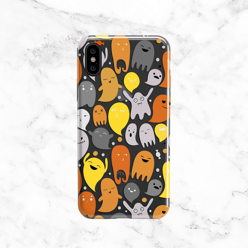 Halloween Orange Ghosts Phone Case - Clear TPU Phone Case
