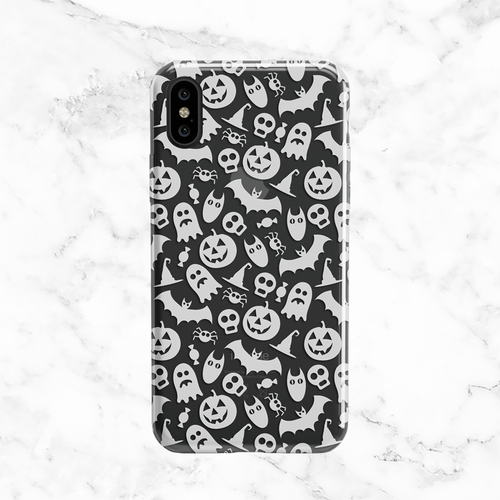 Halloween White Ghosts and Pumpkins - Clear TPU Phone Case