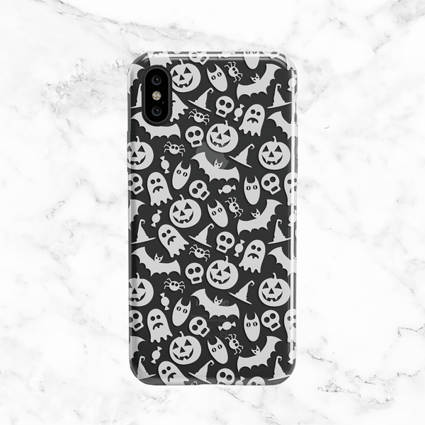 Halloween White Ghosts and Pumpkins - Clear TPU Case