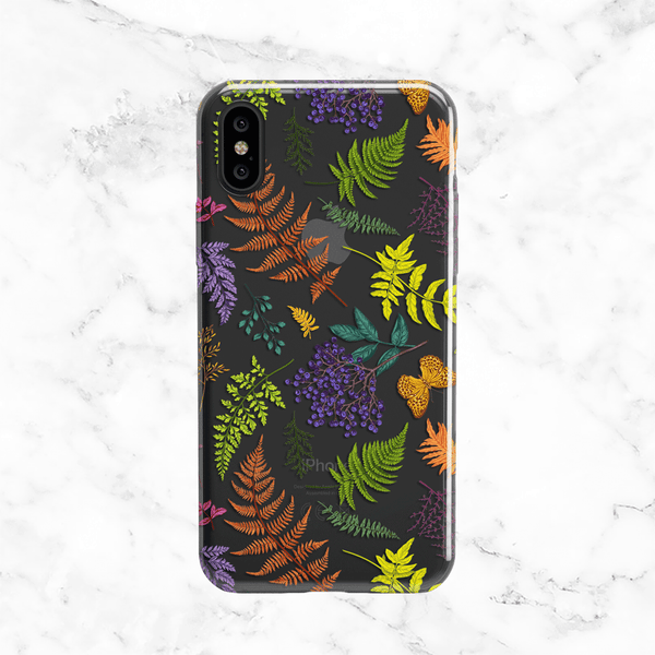 Autumn Forest Ferns Clear Phone Case