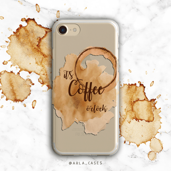 Coffee Time Clear iPhone and Galaxy Phone Case