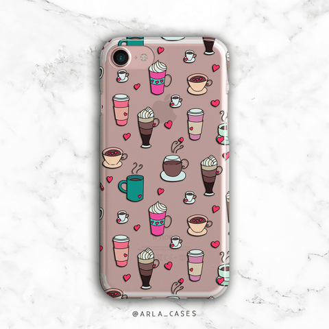 Coffee Drinks Phone Case - Clear Print TPU Phone Case