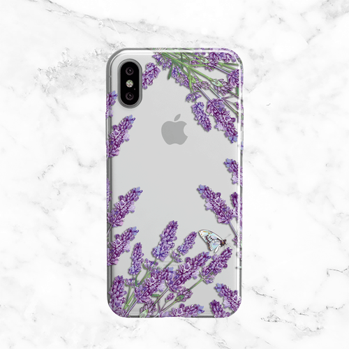Lavender Flowers - Clear TPU Phone Case