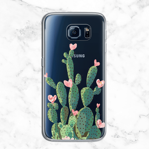 Prickly Pear Cactus - Valentine's Day Clear Phone Case