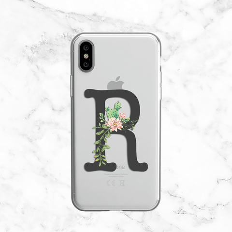Watercolor Hibiscus Succulent Flowers - Clear Printed Phone Case