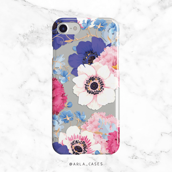 Spring Pastel Poppy Flowers Clear Phone Case