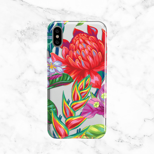 Tropical Flowers -  Clear TPU Case