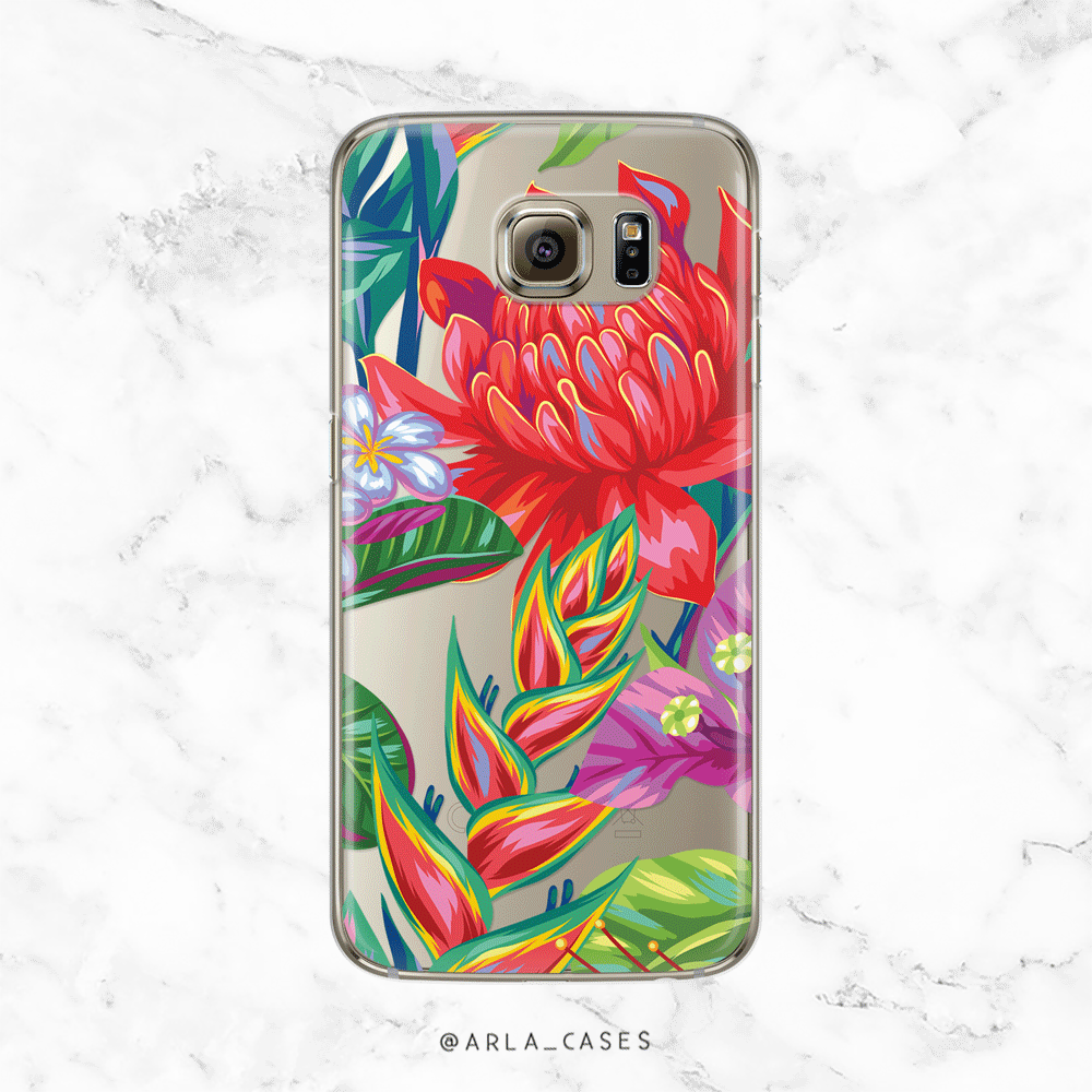 Tropical Flowers - Clear Printed TPU Phone Case