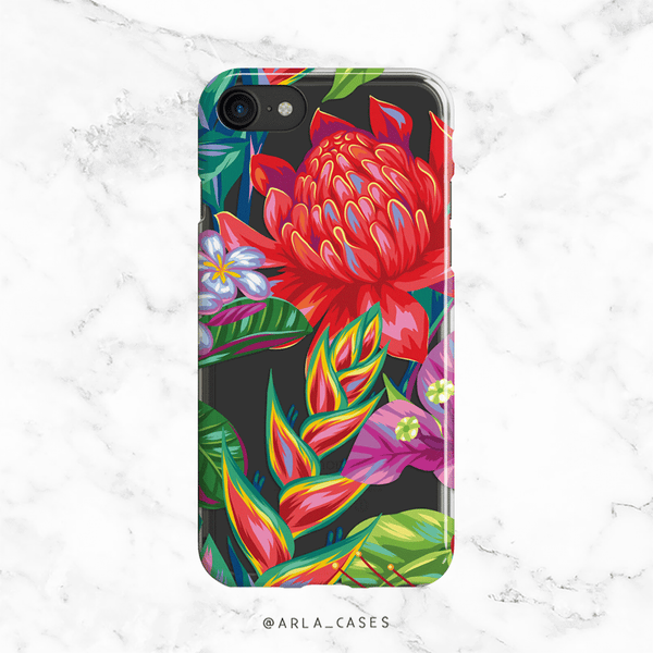 Tropical Flowers Clear Phone Case