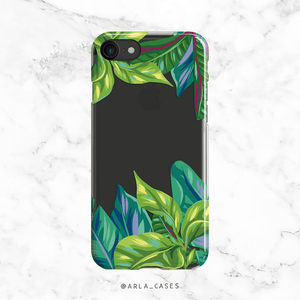 Tropical Leaves Clear Phone Case