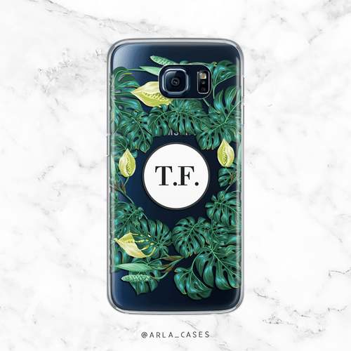 Custom Monstera Leaves with Initials - Clear Printed TPU Phone Case