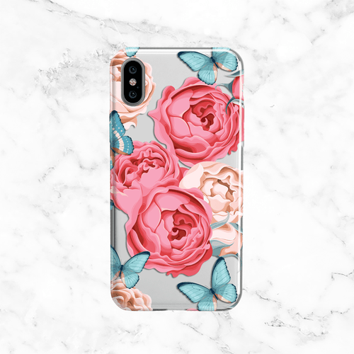 Peonies and Butterflies - Clear Printed TPU Phone Case