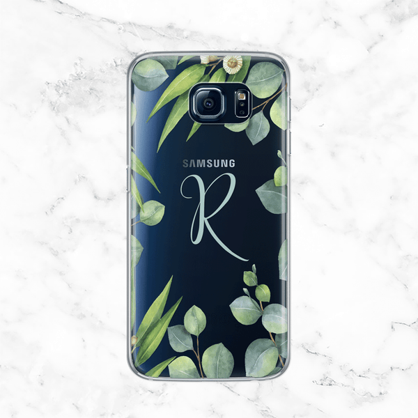 Personalized Monogram Eucalyptus Wreath Galaxy S7 Case